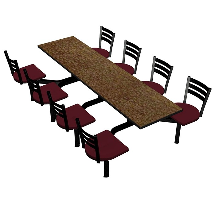 Windswept Bronze laminate table top, Black Dur-A-Edge®, Quest chairhead with Burgundy seat