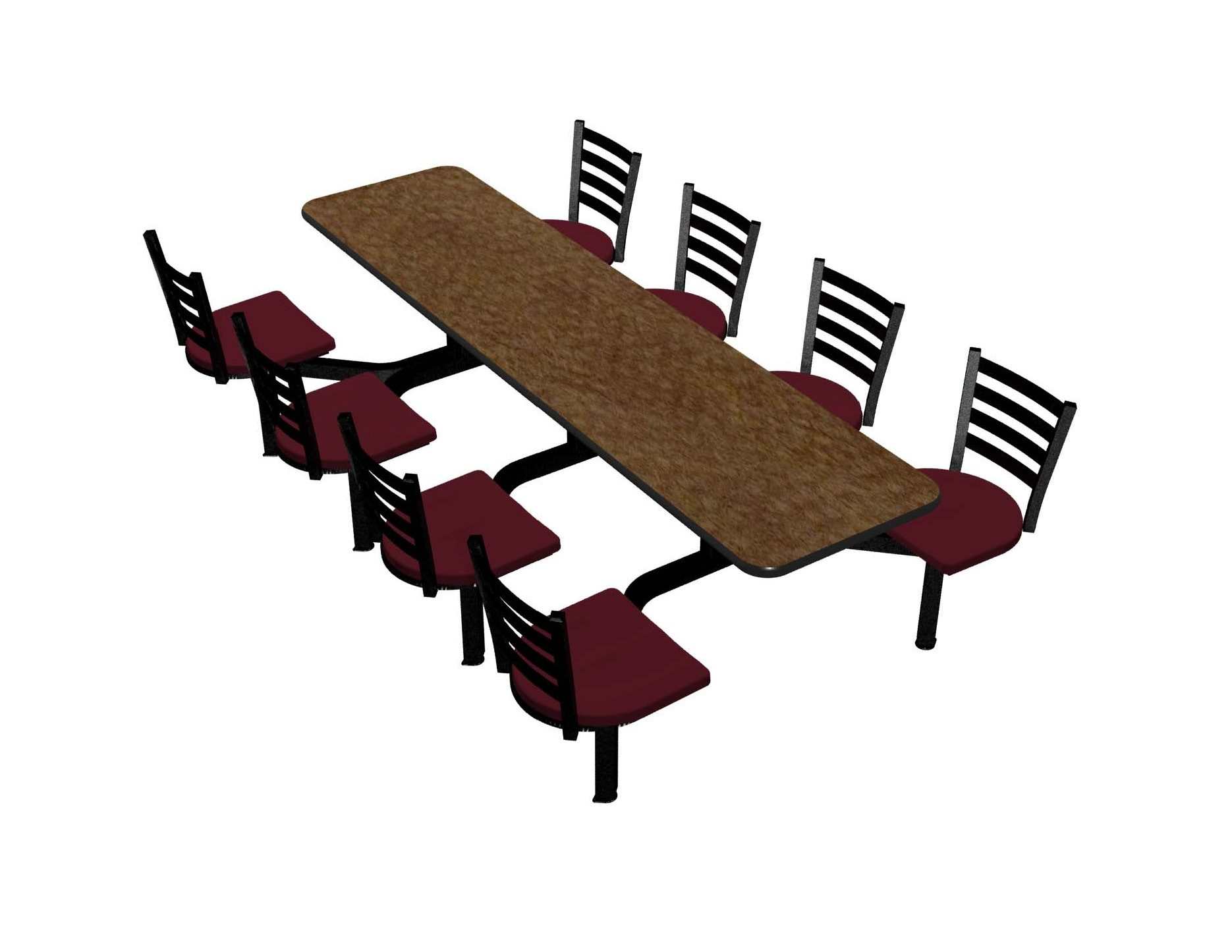 Windswept Bronze laminate table top, Black vinyl edge, Encore chairhead with Burgundy seat