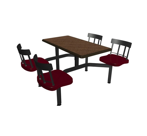 Windswept Bronze laminate table top, Black Dur-A-Edge®, Country chairhead with Burgundy composite seat