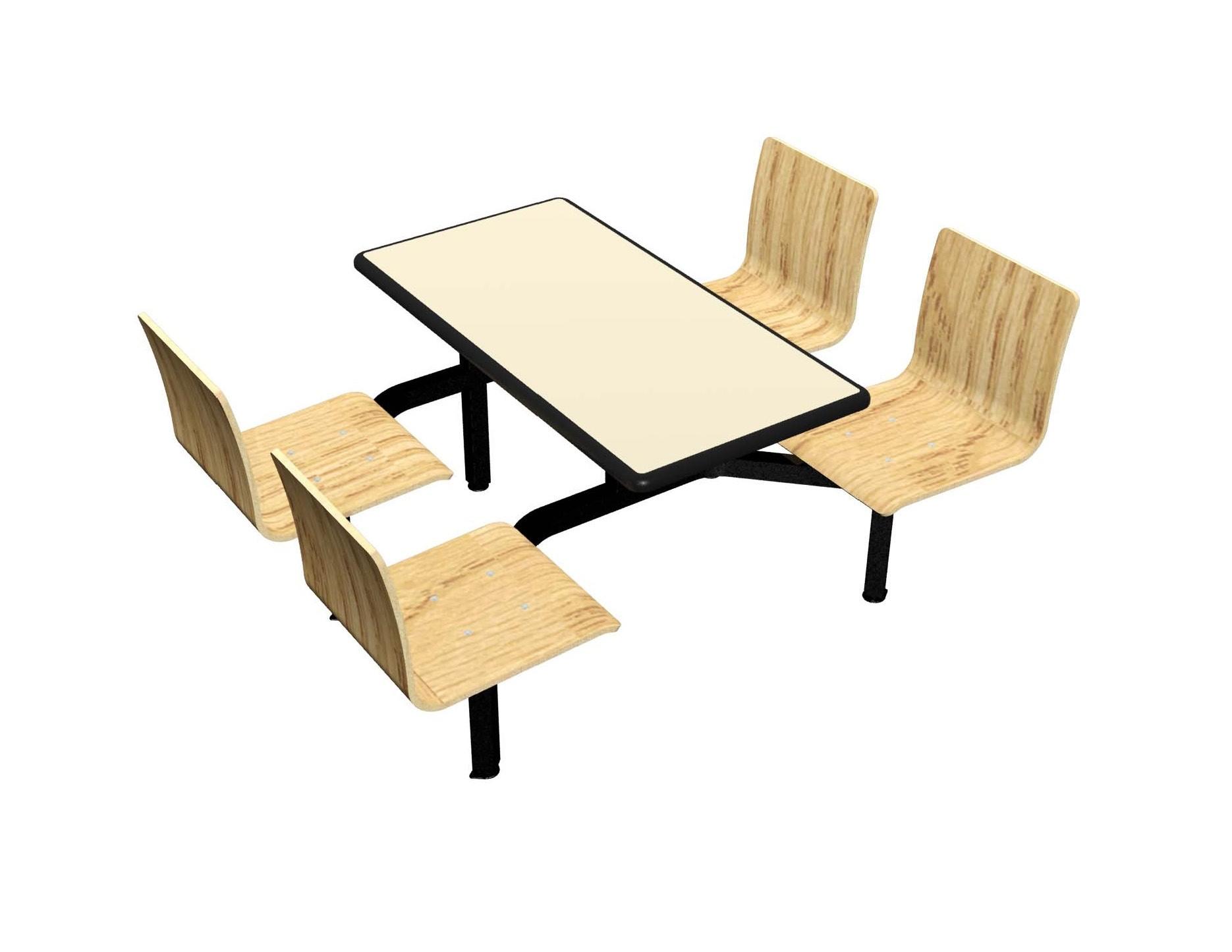 Wallaby laminate table, Black Dur-A-Edge, Natural Oak laminate chairhead