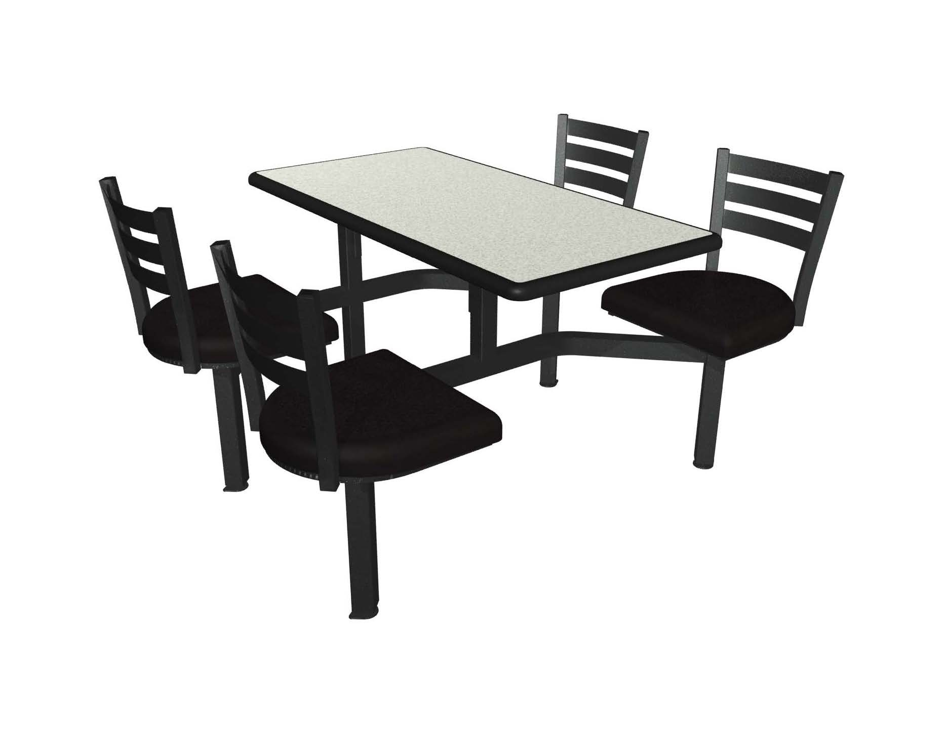 Dove Grey laminate table top, Black Dur-A-Edge, Quest chairhead with black vinyl seat