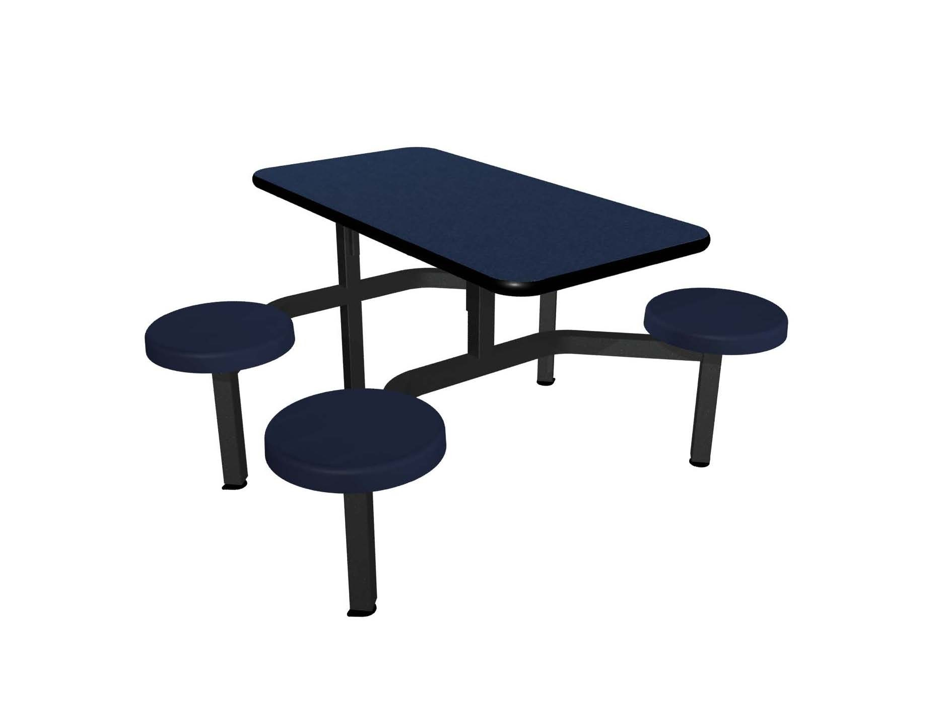 Navy Legacy laminate table top, Black Dur-A-Edge®, Composite button seat in Navy