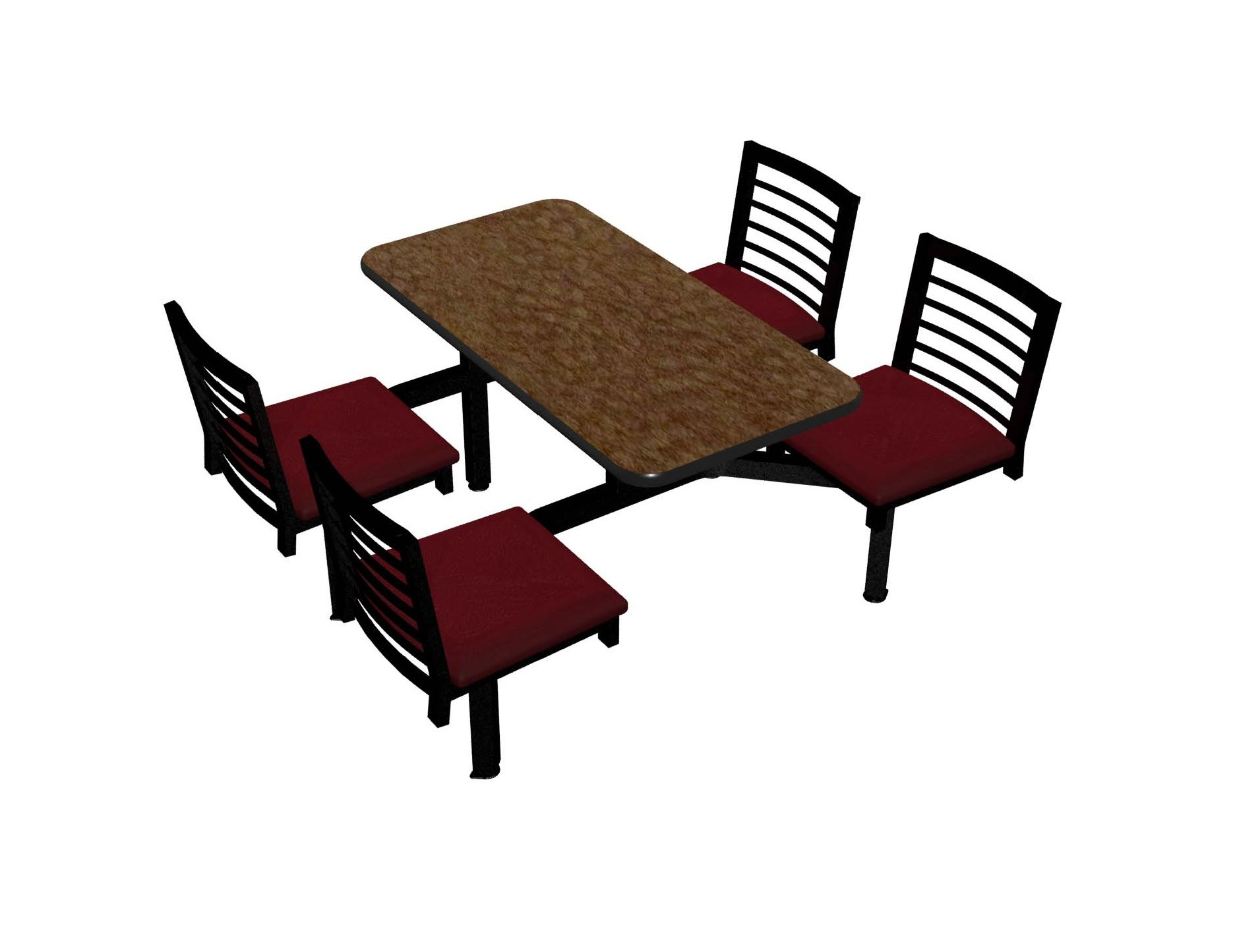 Windswept Bronze laminate table, Black vinyl edge, Latitude chairhead with New Burgundy seat