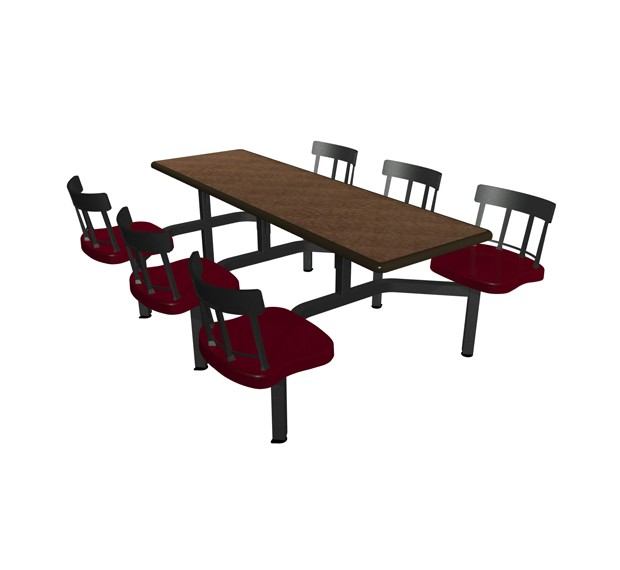 Windswept Bronze laminate table top, Black Dur-A-Edge®, and  Country chairhead with Burgundy composite seat
