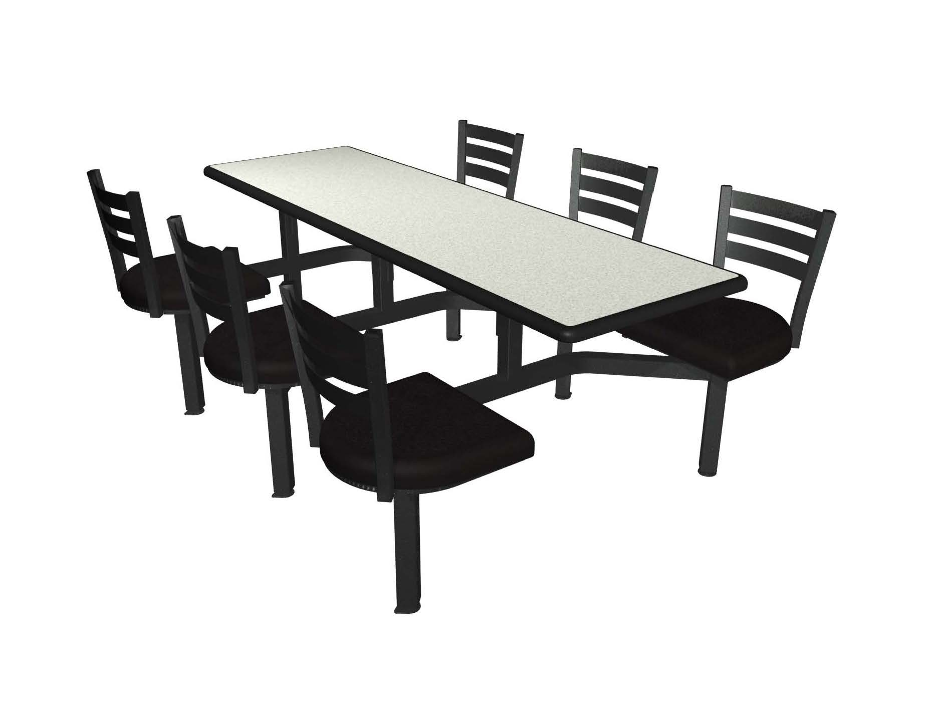 White Nebula laminate table top, Black Dur-A-Edge, black vinyl upholstered seat