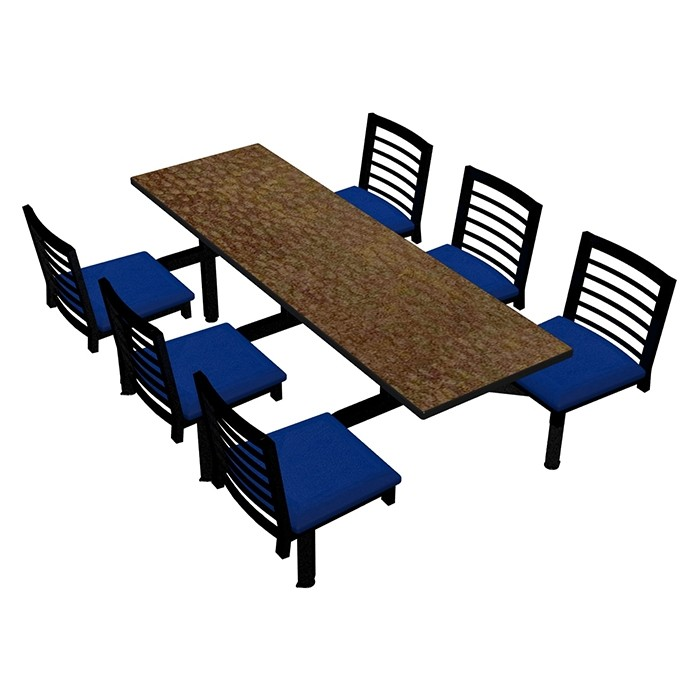 Windswept Bronze laminate table, Black Dur-A-Edge, Latitude chairhead with Blue Jay vinyl seat