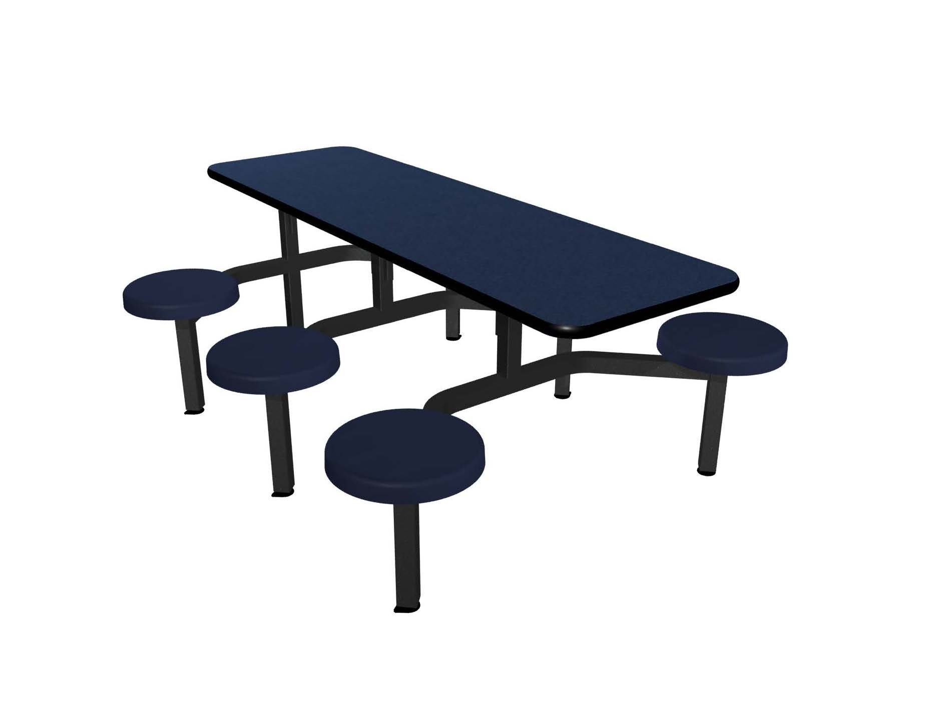 Navy Legacy laminate table top, Black Dur-A-Edge®, composite seat in Navy