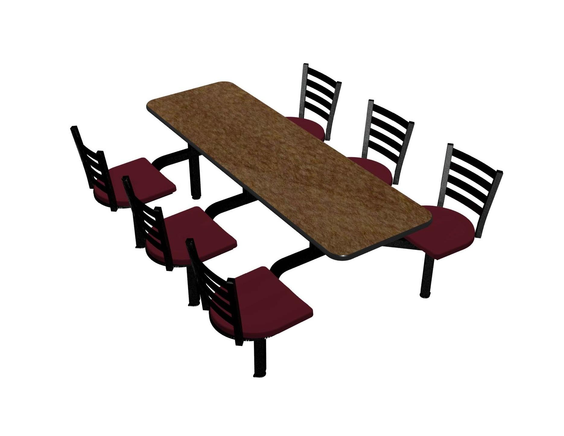 Windswept Bronze laminate table top, Black vinyl edge, Encore chairhead with Burgundy seat