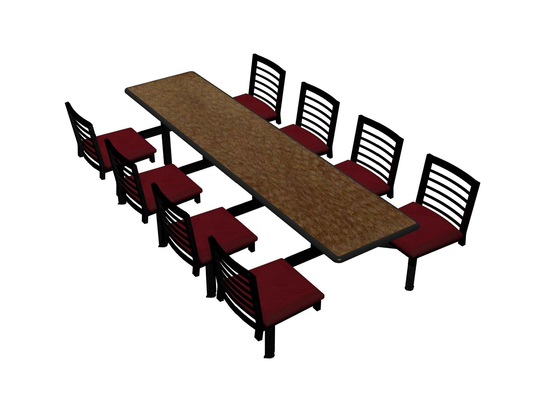 Windswept Bronze laminate table, Black Dur-A-Edge, Latitude chairhead with New Burgundy seat
