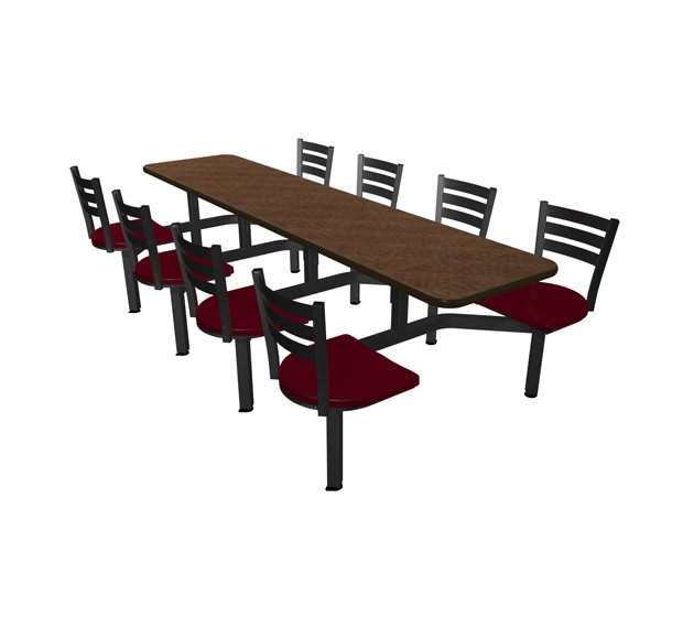 Windswept Bronze laminate table top, Black vinyl edge, Quest chairhead with Cranberry seat