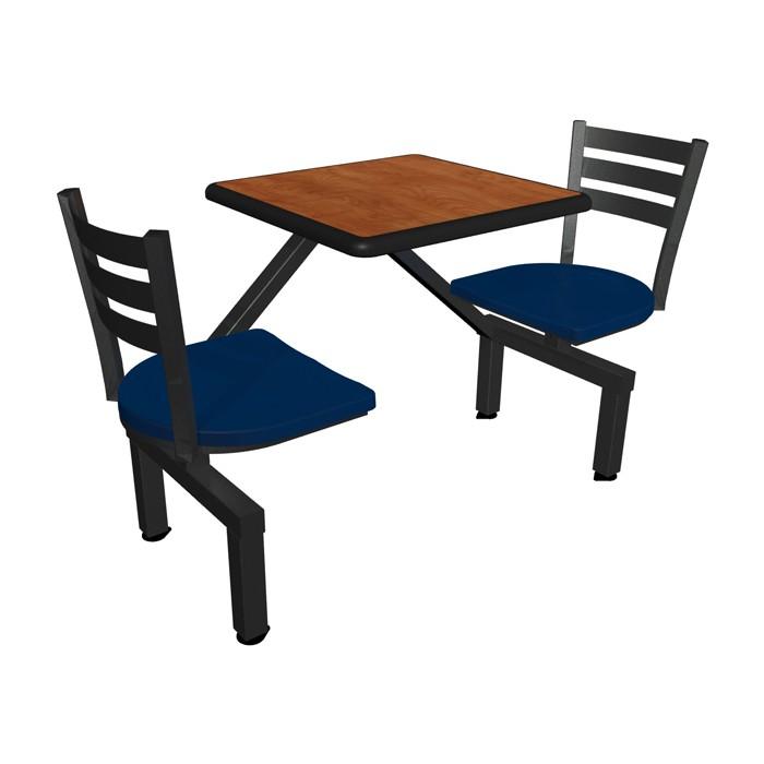 Wild Cherry laminate table top, Black Dur-A-Edge®, Quest chairhead with Atlantis seat