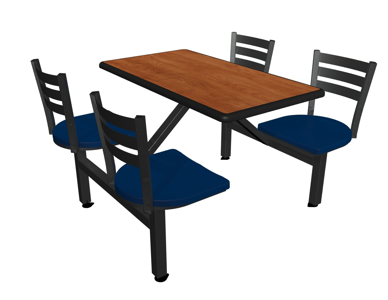 Wild Cherry laminate table top, Black Dur-A-Edge®, Quest chairhead with Atlantis seat