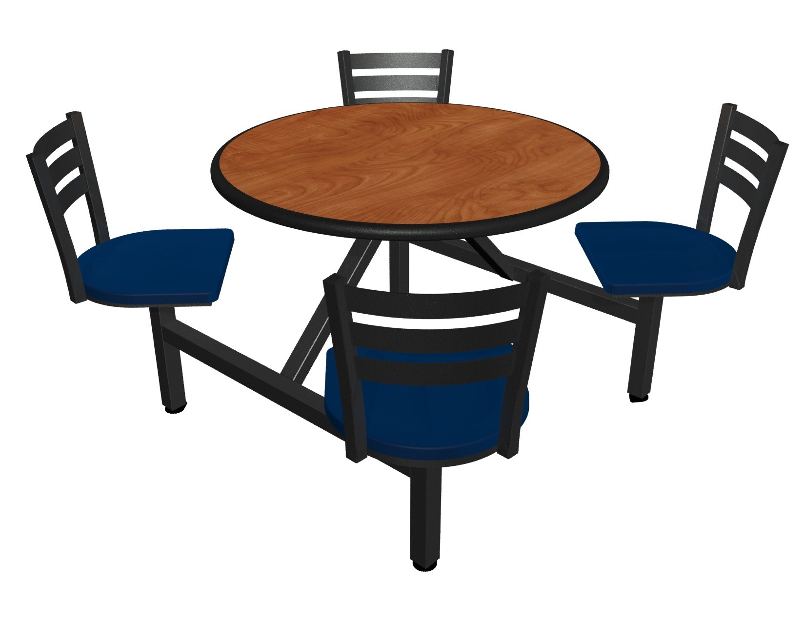 Wild Cherry laminate table top, Black Dur-A-Edge® , Quest chairhead with Atlantis seat