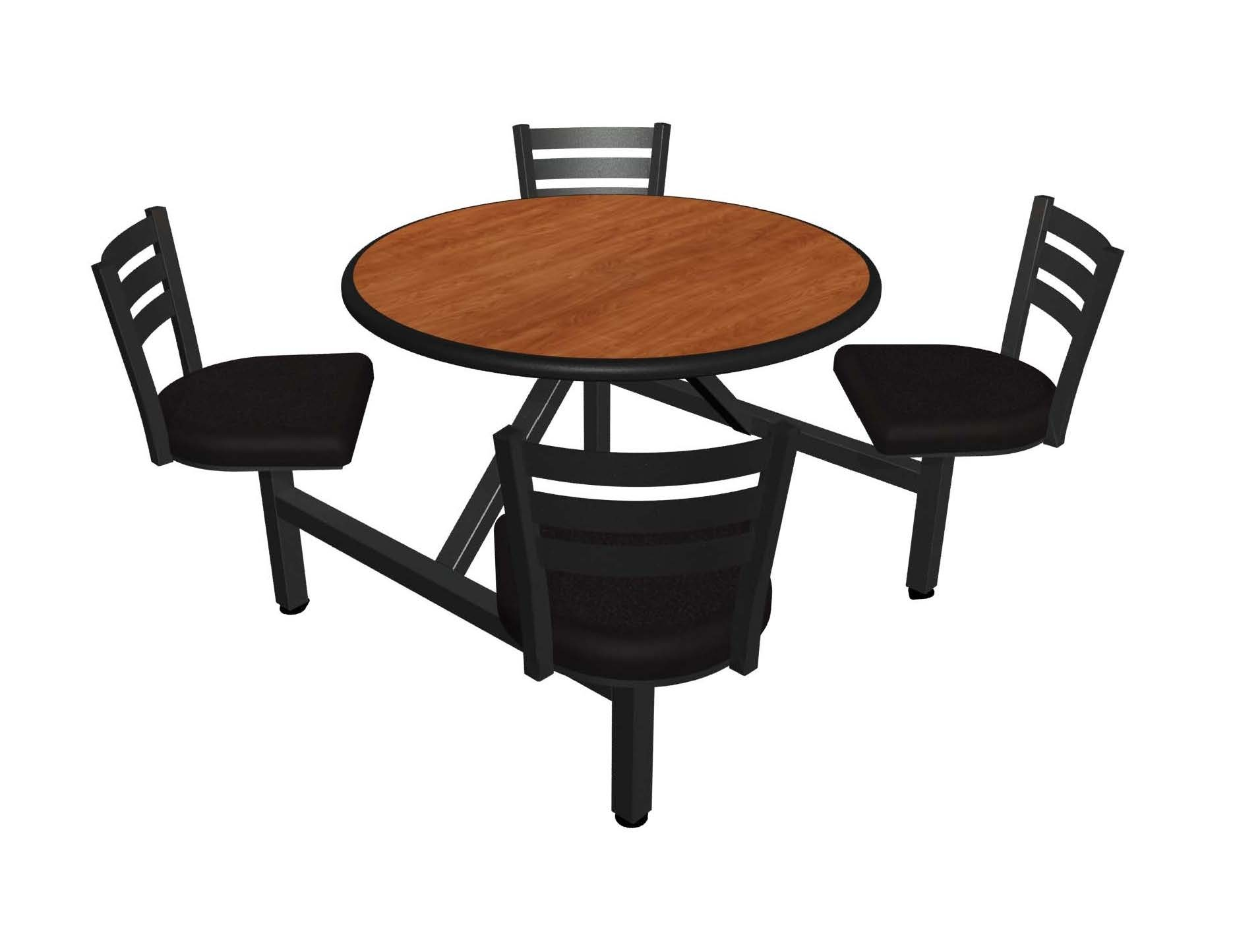 Wild Cherry laminate table top, Black Dur-A-Edge, Quest chairhead with black vinyl seat