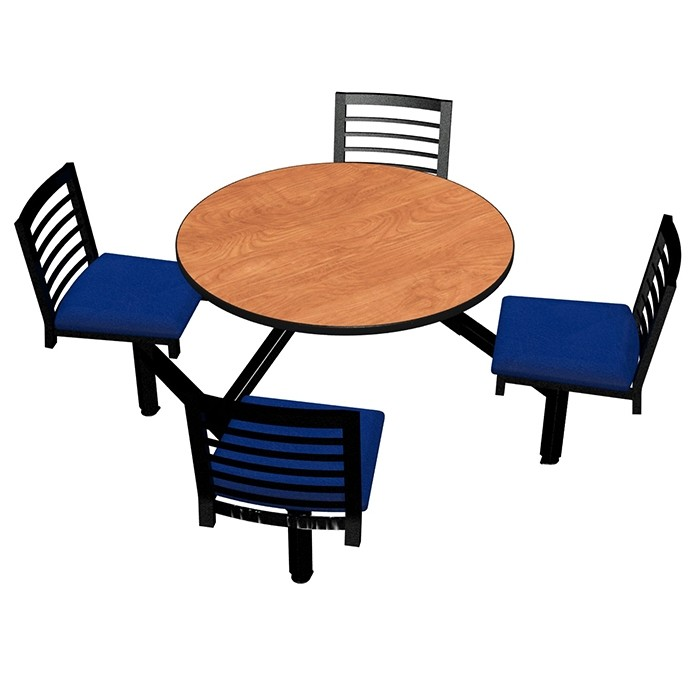 Wild Cherry laminate table top, Black Dur-A-Edge® , Latitude chairhead with Bluejay seat