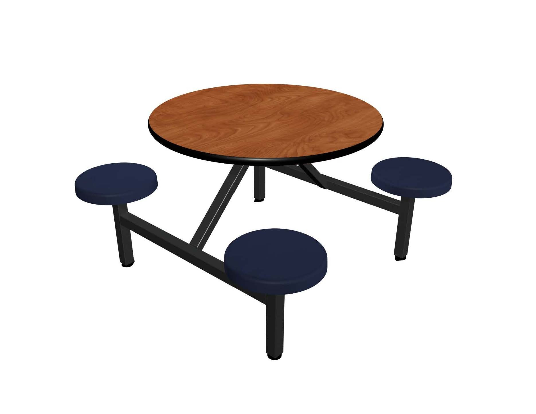 Wild Cherry laminate table top, Black vinyl edge, Navy composite seat