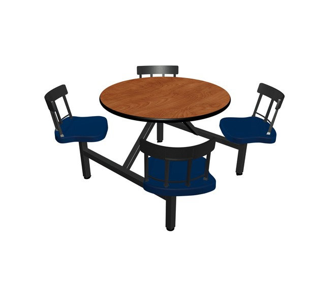 Wild Cherry laminate table top, Black vinyl edge, Country chairhead with Atlantis seat