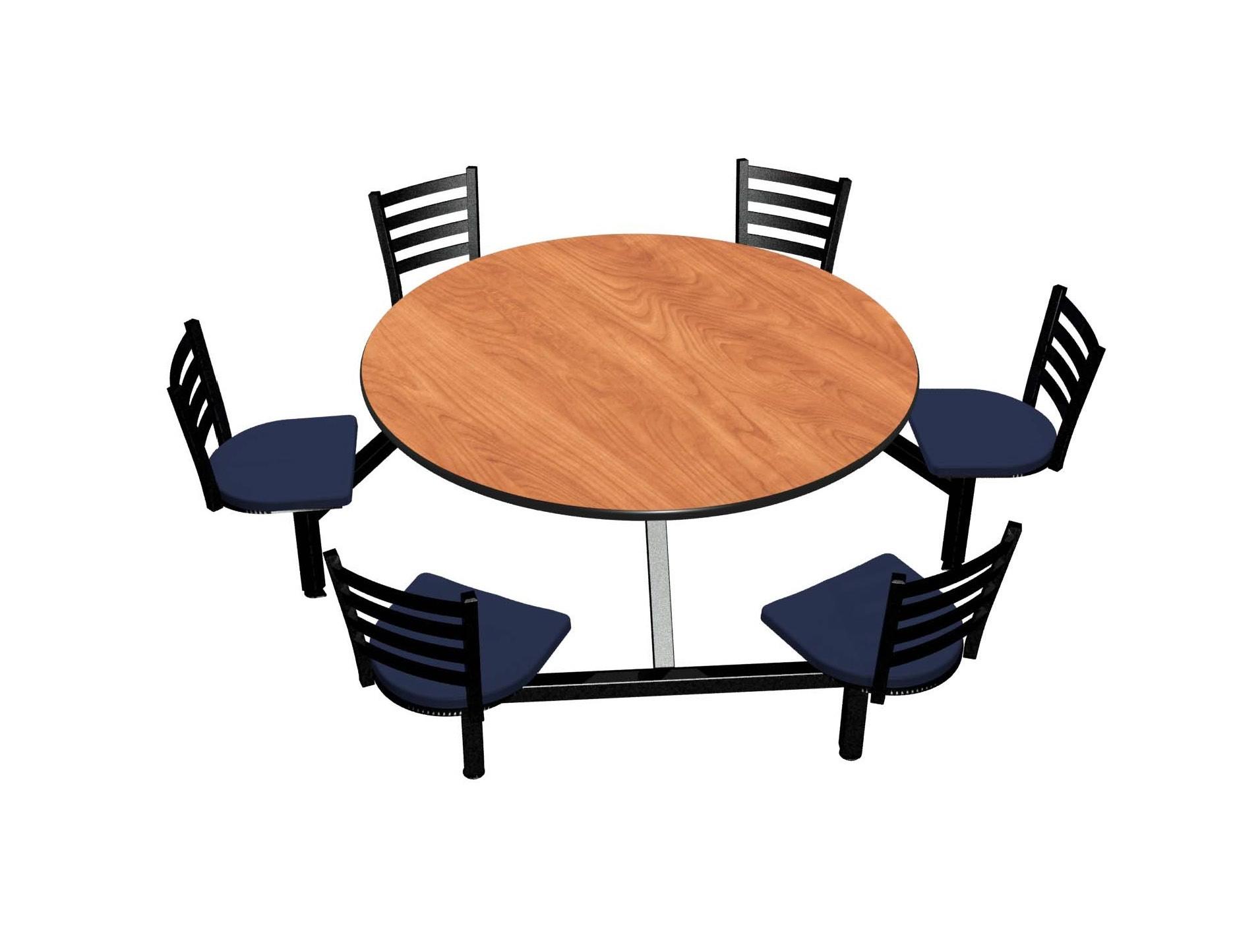 Wild Cherry laminate table, Black vinyl edge, Latitude chairhead with Bluejay seat