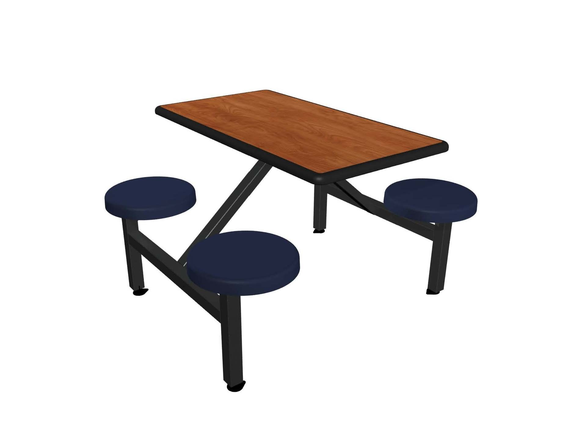 Wild Cherry laminate table top, Black Dur-A-Edge®, Navy composite button seat