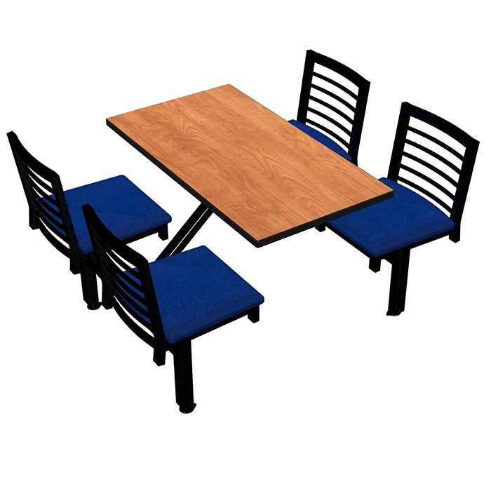 Wild Cherry laminate table top, Black Dur-A-Edge®, Latitude chairhead with Bluejay seat