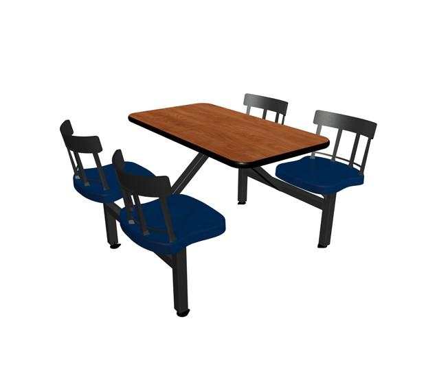 Wild Cherry laminate table top, Black vinyl edge, Country chairhead with Atlantis seat