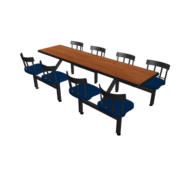 Wild Cherry laminate table top, Black Dur-A-Edge®, Country chairhead with Atlantis seat
