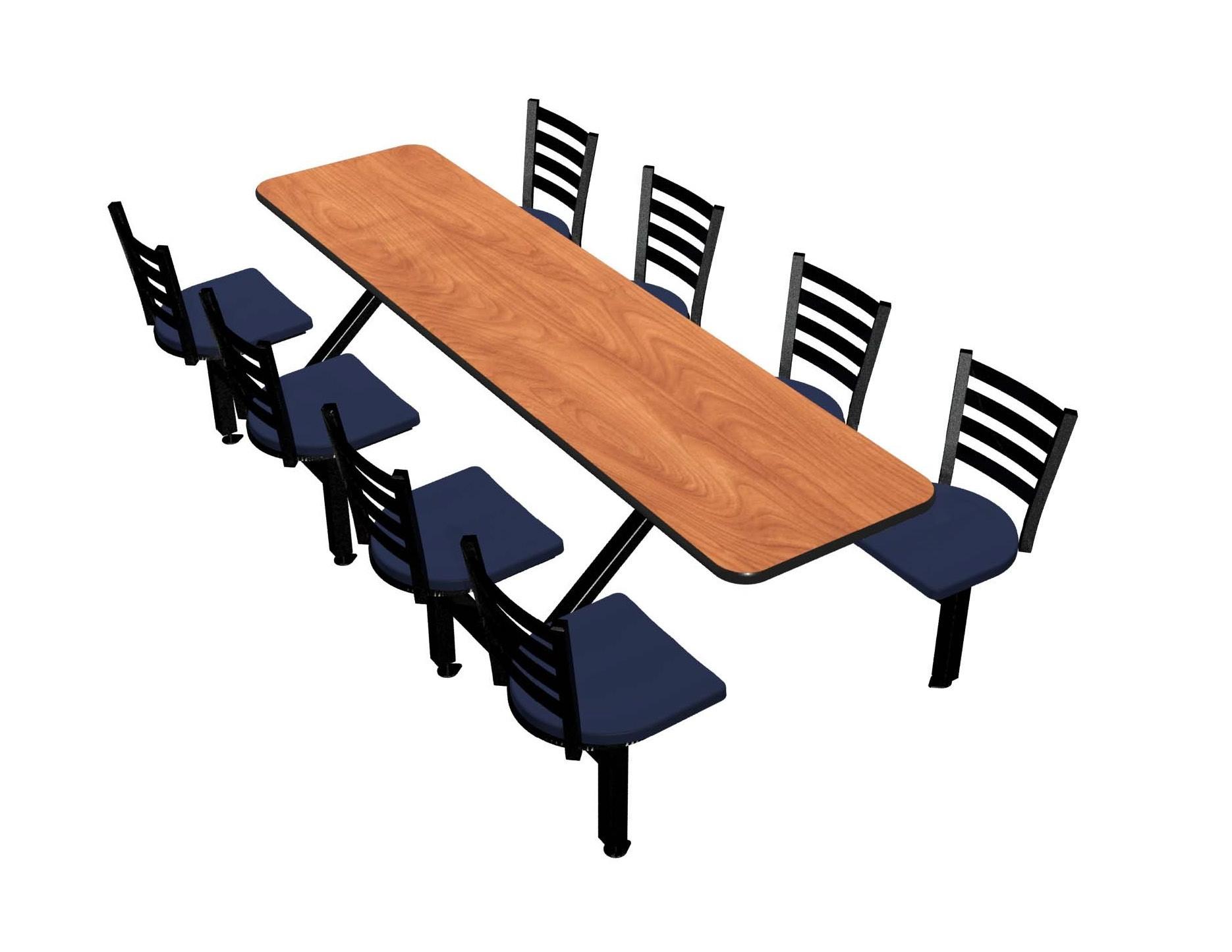 Wild Cherry laminate table, Black vinyl edge, Encore chairhead with Atlantis seat
