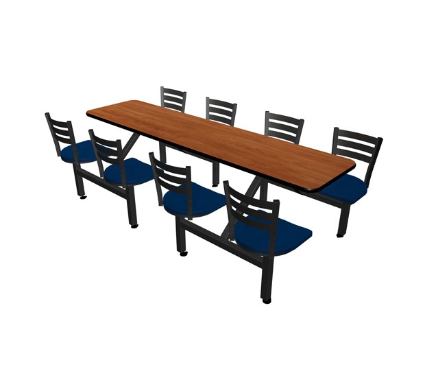 Wild Cherry laminate table, Black vinyl edge, Quest chairhead with Atlantis seat
