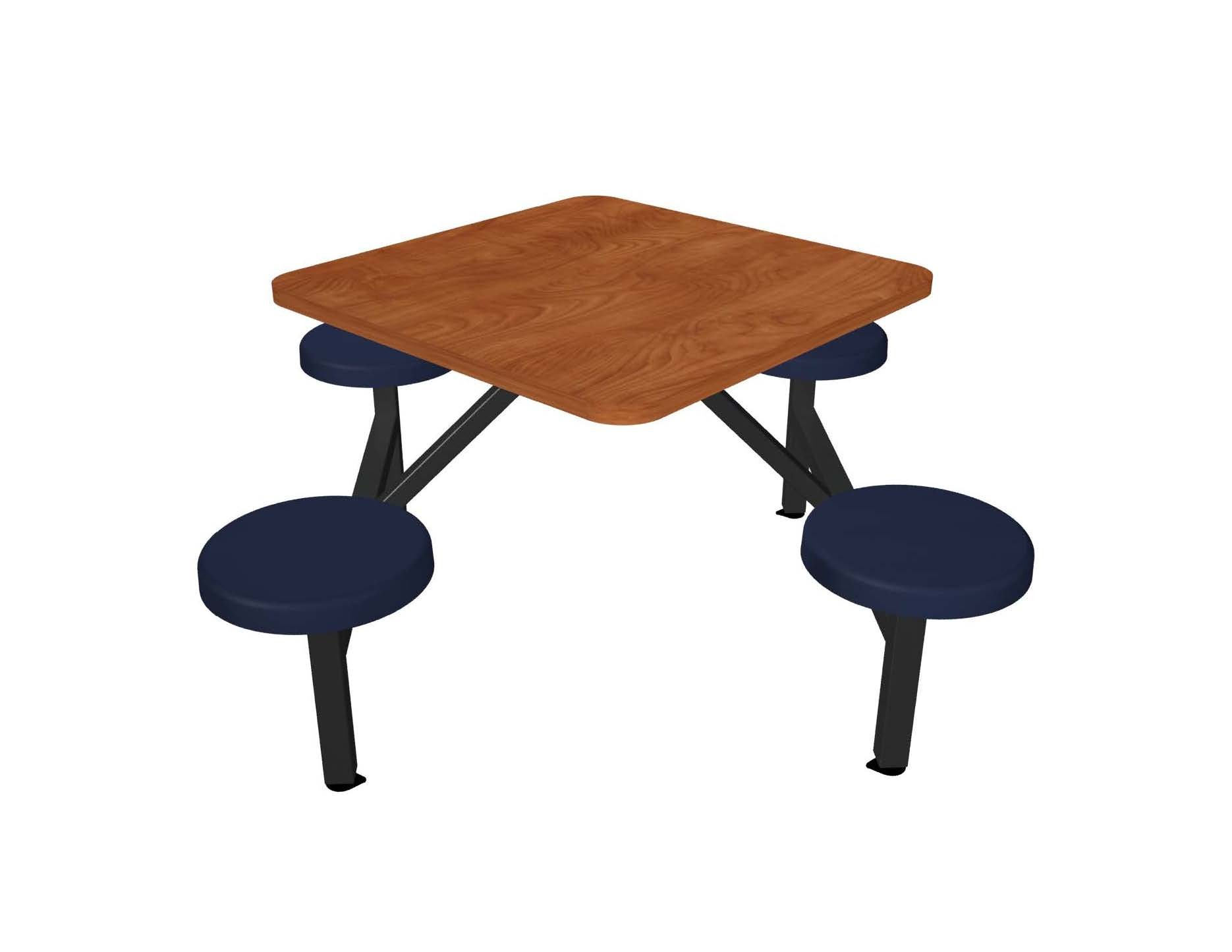 Wild Cherry laminate table top, Black vinyl edge, Navy composite button seat