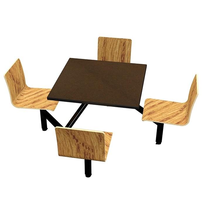 Morro Zephyr laminate table, Black Dur-A-Edge, Natural Oak laminate chairhead