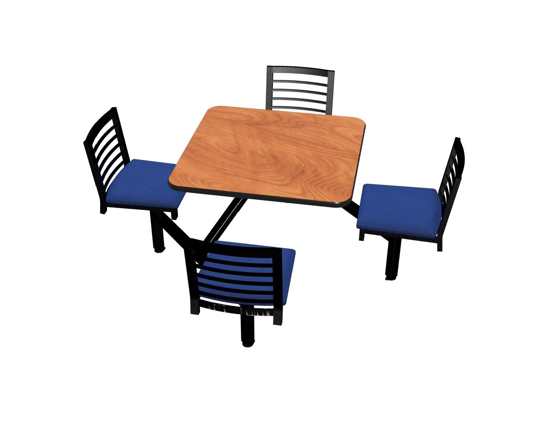 Wild Cherry laminate, Black vinyl edge, Latitude chairhead with Bluejay seat