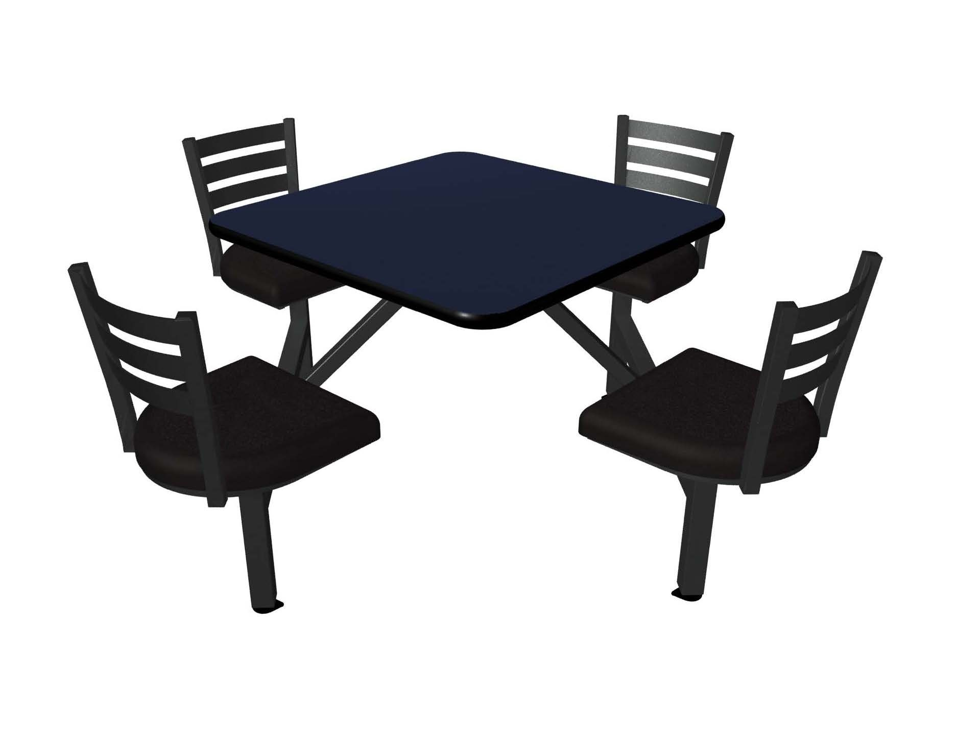 Atlantis laminate table top, Black vinyl edge, Quest chairhead with black vinyl seat