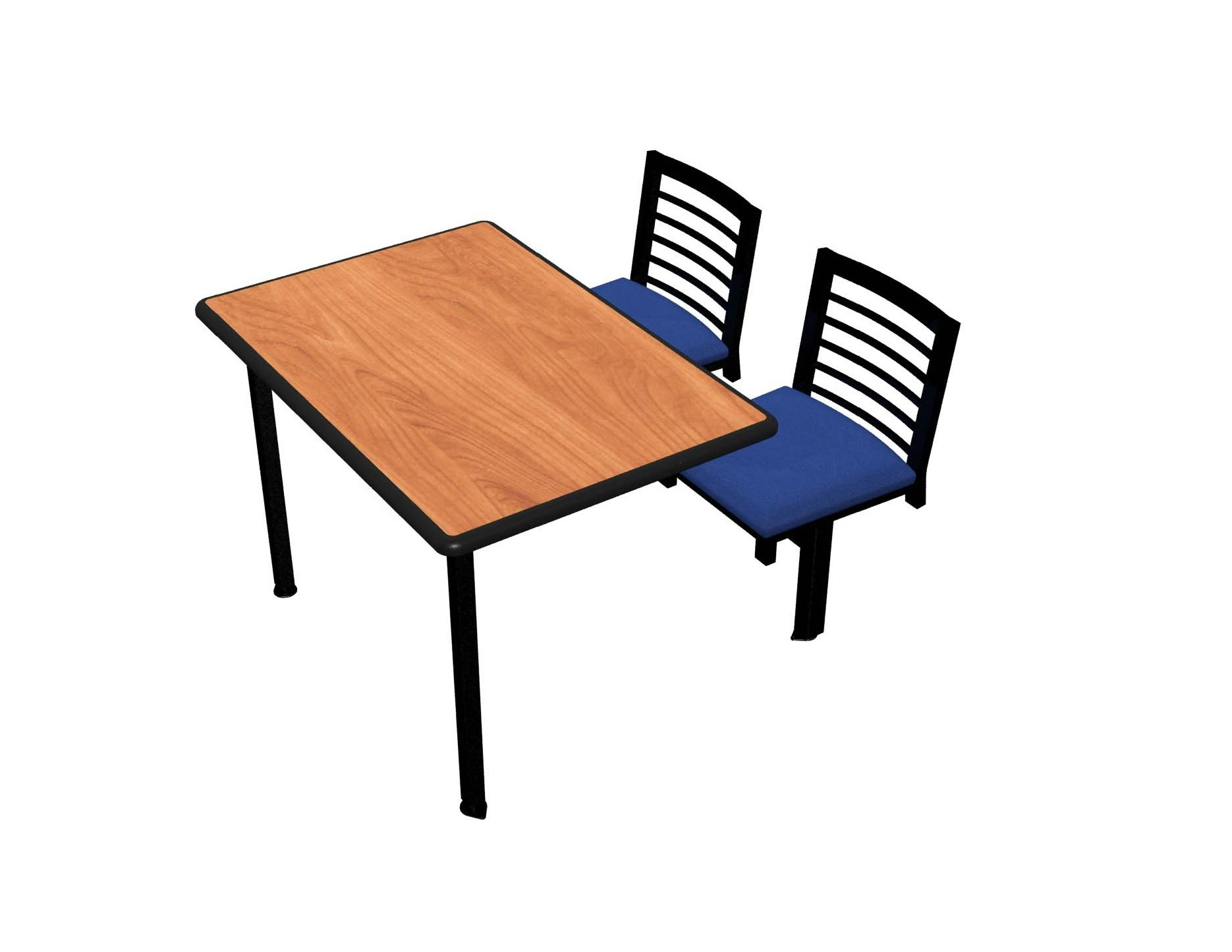 Wild Cherry laminate, Black Dur-A-Edge®, Latitude chairhead with Bluejay seat