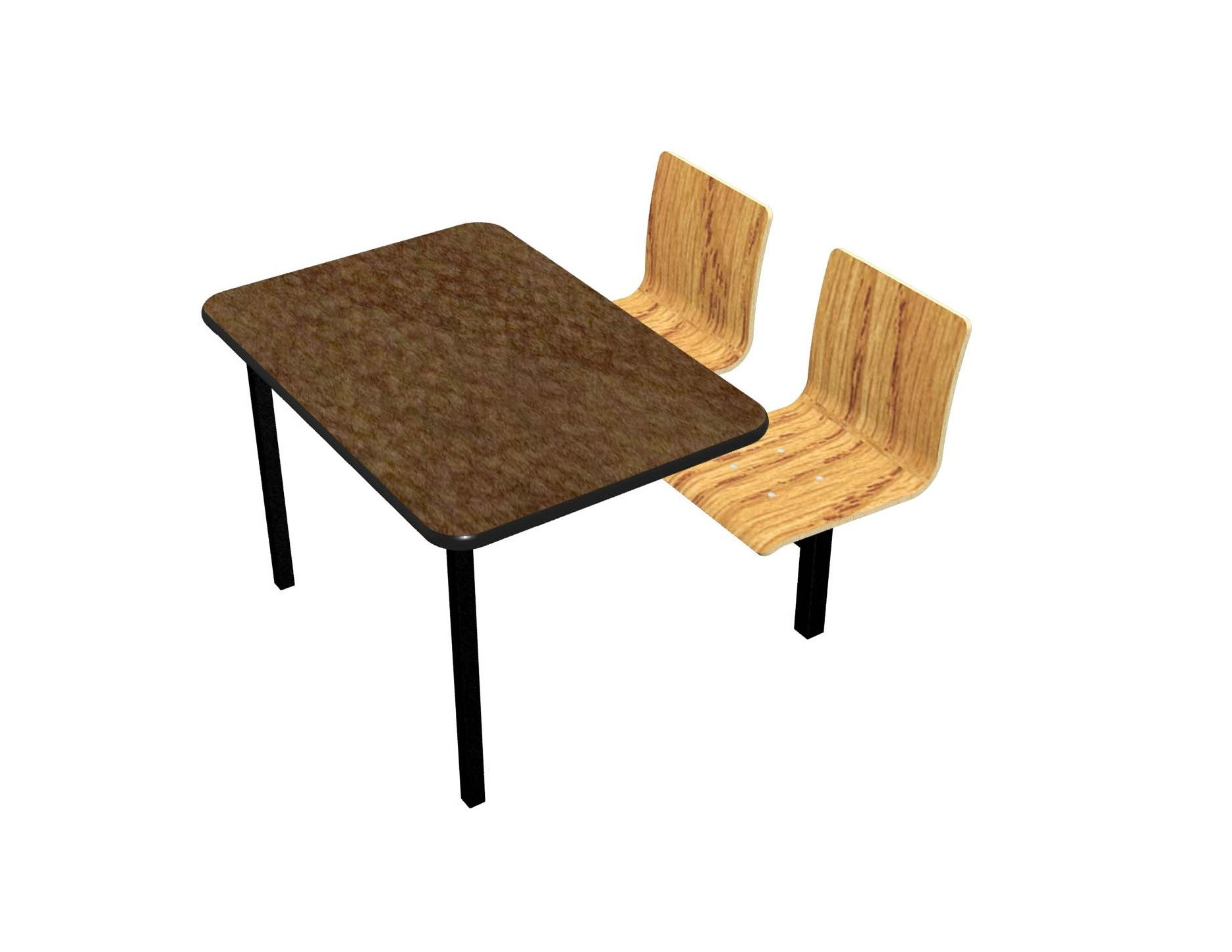 Morro Zephyr laminate table, Black vinyl, Natural Oak laminate chairhead
