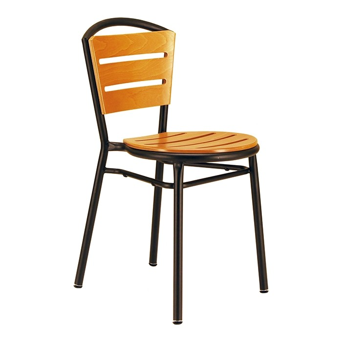 Baja chair with teak stained seat and back - black frame