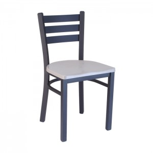 Ladderback chair with Concrete composite seat, Onyx Black frame
