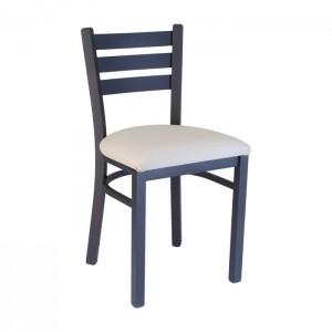 Ladderback chair with Natural vinyl, Onyx black frame