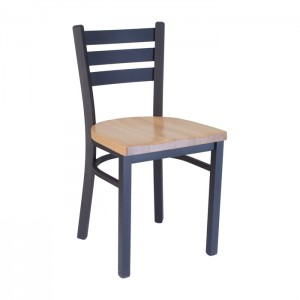 Ladderback chair with Natural oak seat, Onyx black frame