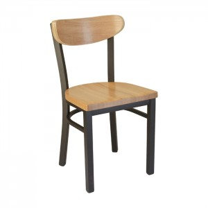 Onyx Black frame, Natural oak seat and back, front view