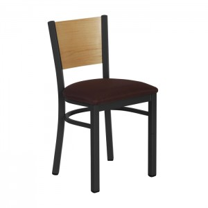 Onyx Black Frame with Straight Veneer Back and Vinyl Upholstered Seat