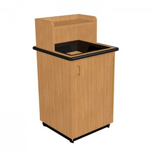 Square Drop Top Waste Receptacle with Tray Shelf