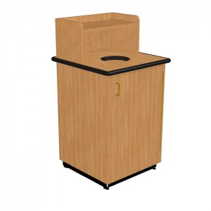 Round Drop Top Waste Receptacle with Tray Shelf