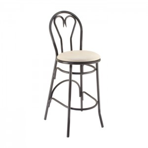 Heartback Metal Parlor Barstool with Upholstered Seat