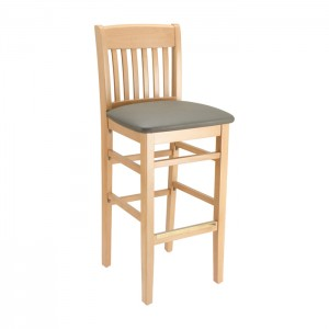 Natural Stain, Slate Grey Vinyl Restaurant Bar Stool