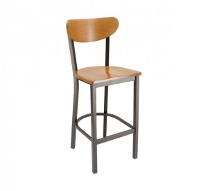 Fawn Stain Seat & Back Metal Restarant Barstool