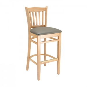 Natural Stain, Slate Grey Vinyl Jailhouse Barstool with Upholstered Seat