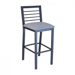 Barstool with Onyx Black frame with Slate vinyl upholstered seat