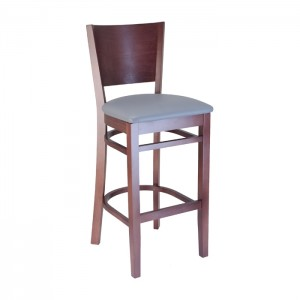 Keystone wood barstool with Slate vinyl seat and Rosewood stain for bars and restaurants