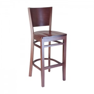Keystone wood barstool with wood saddle seat, Rosewood stain