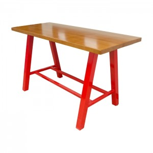 Solid Beech wood table with red gloss frame